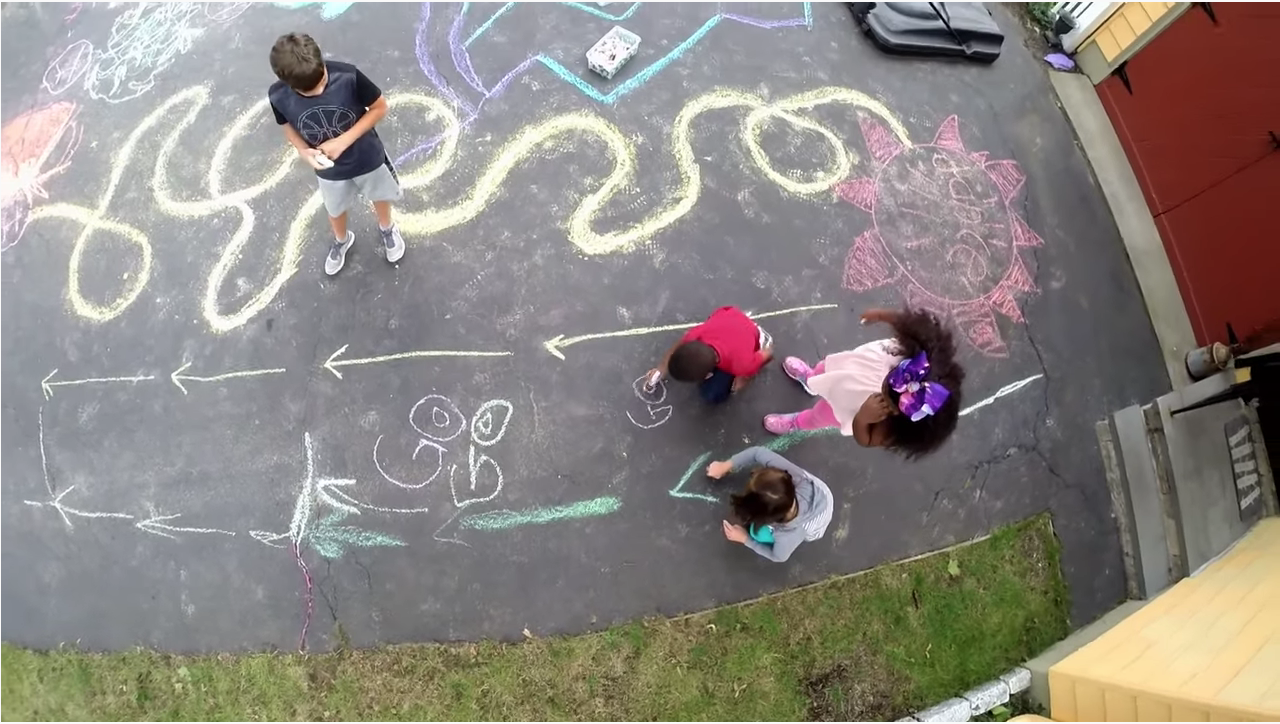 chalk obstacle course for kids